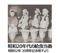 昭和20年代の給食当番の写真